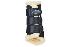 Weatherbeeta Sheepskin Exercise Boots - Black: Warmblood