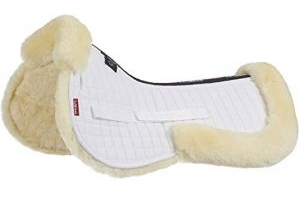 LeMieux Lambskin Half Pad, White (Natural Wool/White Fabric), Large
