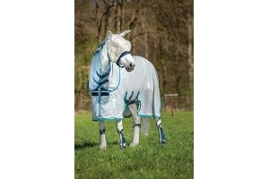 AMIGO Horseware Bug Buster Untreated Fly Rug in Silver/Elec Blue 66_5'6