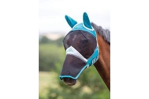 Shires Fine Mesh Fly Mask With Ears and Nose Extension - Teal: Cob