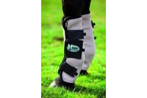 Rambo Horseware Fly Boots with Vamoose (Pack of 4)-Silver/Purple Horse