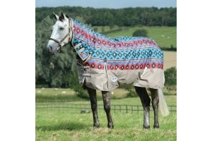 WeatherBeeta ComFiTec Essential 220g Medium Weight Combo Neck Turnout Rug Blue Navajo/Taupe
