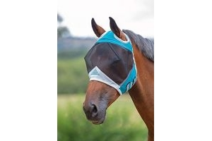 Shires Fine Mesh Fly Mask With Ear Holes - Teal: Pony