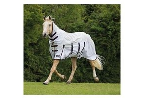 Shires Performance Maxi Flow Waterproof Fly Rug-White - Orange/Navy 6'3