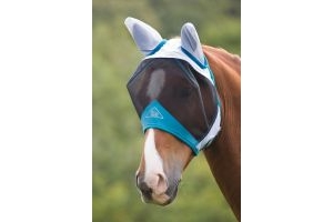 Shires Fine Mesh Fly Mask With Ears White: Pony