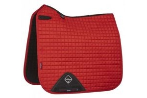 LeMieux ProSport Suede Dressage Square Saddle Pad Coral Red