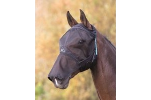 Shires Fine Mesh Fly Mask With Ear Hole & Nose [Black, Xfull]