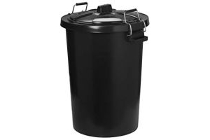 Trilanco Unisex's Prostable Dustbin with Locking Lid 85 Liter, Black, Regular