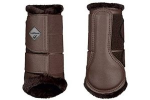 LeMieux Fleece Brushing Boots - Brown/Brown Fleece, Medium