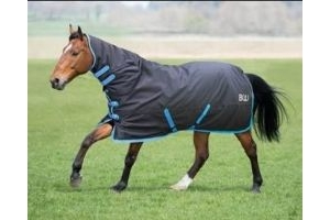Bridleway Ontario Medium Weight Combo Turnout Rug: Black & Blue: 5 ft 9