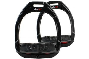 Flex-On Adults Green Composite Inclined Extra Grip Stirrup Black/Red