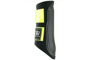 New Woof Wear Club Boot Brushing - Black Reflective Yellow Hi Viz Pony Small