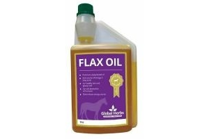 Flax Oil Global Herbs 1 Litre Liquid Premium Cold Pressed Horse Supplement