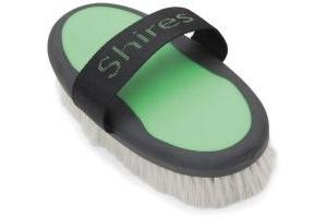 Shires Ezi-Groom Body Brush with Goat Hair Green
