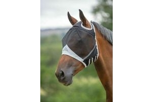 Shires Fine Mesh Fly Mask With Ear Holes - X/Full - Black