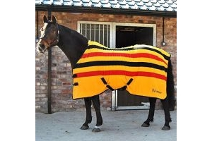 John Whitaker Holywell Striped Fleece Rug 6ft6 Yellow Red Black