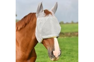 Equilibrium Field Relief Midi Fly Mask With Ears Grey with Yellow Trim: Small