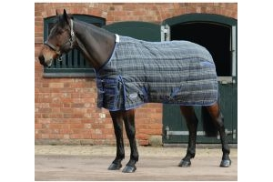 WeatherBeeta ComFiTec PP Channel Quilt 360g Heavyweight Standard Neck Stable Rug Grey Plaid