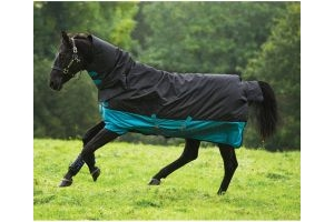 Horseware Mio All-In-One 200g Medium Weight Combo Neck Turnout Rug Black/Turquoise/Black