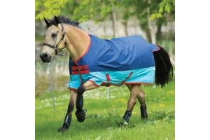 Horseware Mio 0g Lightweight Standard Neck Turnout Rug Dark Blue/Aqua Blue/Red
