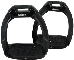 Flex-On Adults Green Composite Inclined Extra Grip Stirrup Black/Grey