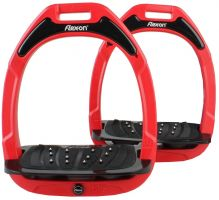 Flex-On Adults Green Composite Inclined Extra Grip Stirrup Red/Black