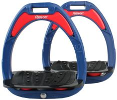 Flex-On Junior Composite Inclined Grip Stirrups Navy/Black/Red