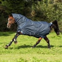 Horseware Amigo Bravo 12 Plus 0g Lite Weight Detach-A-Neck Turnout Rug Navy Blue Silver