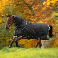 Horseware Amigo Bravo 12 Plus 250g Medium Weight Detach-A-Neck Turnout Rug Black/Strong Blue