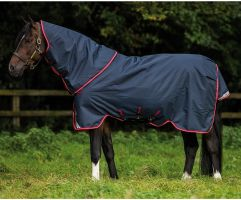 Horseware Amigo Bravo 12 Plus 250g Medium Weight Detach-A-Neck Turnout Rug Navy/Red/Blue
