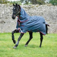 Horseware Amigo Bravo 12 Plus 250g Medium Weight Detach-A-Neck Turnout Rug Navy/Red