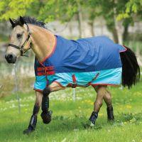 Horseware Mio 0g Lightweight Standard Neck Turnout Rug Dark Blue/Aqua Blue/Red