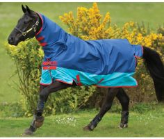 Horseware Mio All-In-One 0g Lightweight Combo Neck Turnout Rug Dark Blue/Aqua Blue/Red