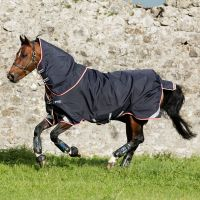 Horseware Rambo Bundle Duo 100G and 300G Heavy Weight Detach-A-Neck Turnout Rug Navy/Beige/Red