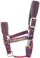 Horseware Rambo Padded Headcollar Charcoal with Blue/Raspberry