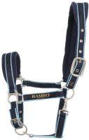 Horseware Rambo Padded Headcollar Navy with Beige/Baby Blue/Navy