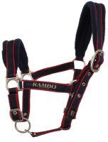 Horseware Rambo Padded Headcollar Whitney Stripe Cherry