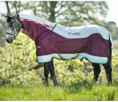 Horseware Rambo Summer Series 0g Lightweight Detach-A-Neck Turnout Rug Grey/Burgundy