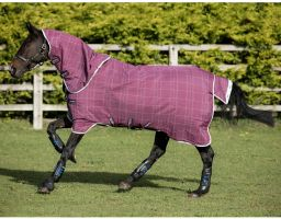 Horseware Rhino Plus with Vari-Layer 450g Heavy Weight Detach-A-Neck Turnout Rug Berry/Grey/White Check/Grey