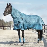 Horze Avalanche 1200D 350G Heavy Weight Combo Turnout Rug Indian Teal/Dark Grey