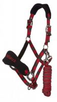 LeMieux Signature Headcollar & Leadrope Red/Black
