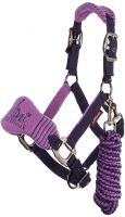 LeMieux Vogue Mini Fleece Headcollar with Leadrope Lavender/Navy