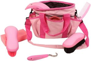 Roma Deluxe Carry Bag 7 Piece Grooming Kit Pink