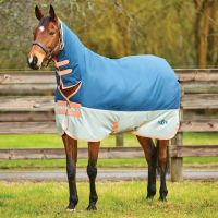 Saxon 600D 200g Medium Weight Combo Neck Turnout Rug Dark Blue/Pebble/Orange