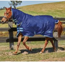 Saxon 600D 200g Medium Weight Combo Turnout Rug Navy/Light Blue
