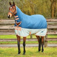 Saxon 600D 300g Heavy Weight Combo Neck Turnout Rug Dark Blue/Pebble/Orange
