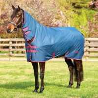 Saxon 600D 300g Heavyweight Combo Neck Turnout Rug Dark Blue/Claret