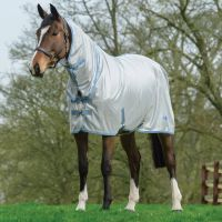 Saxon Mesh Combo Neck Fly Rug Grey/Blue/Gold
