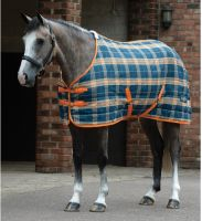 Saxon PP Stable 200g Medium Weight Standard Neck Stable Rug Dark Blue/Pebble/Orange Plaid