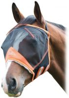 Shires Fine Mesh Fly Mask with Ear Holes Black/Orange
